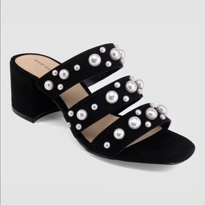 Women's Who What Wear Black Multi Band Pearl Heels
